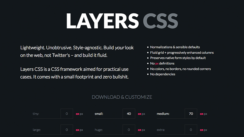 layer css lightweight bootstrap alternative
